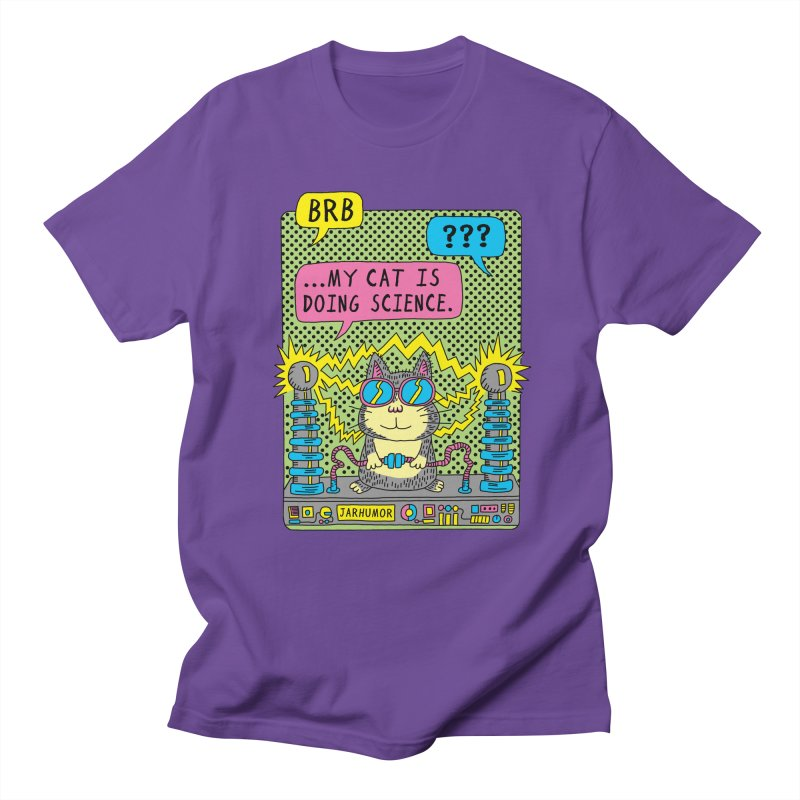 Cat Science in Men's Regular T-Shirt Purple by JARHUMOR