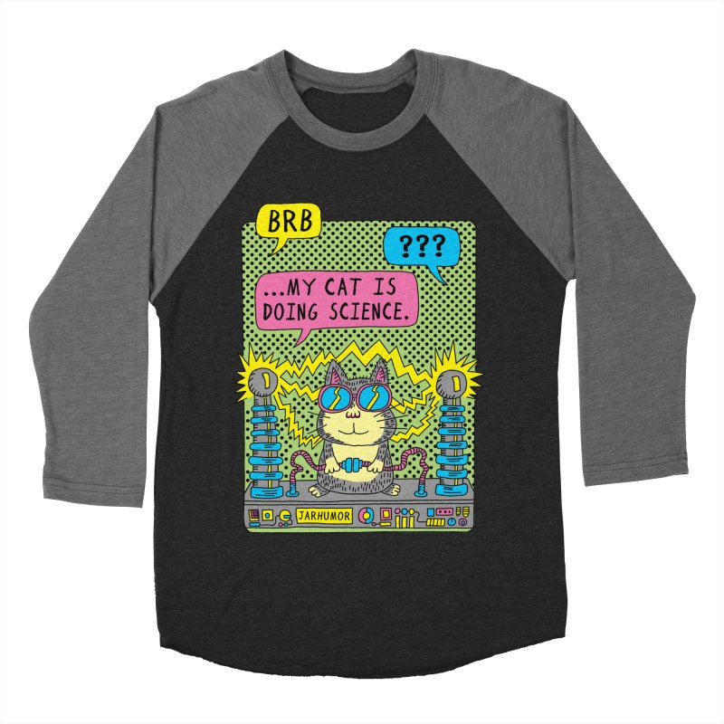 Cat Science Men's Baseball Triblend Longsleeve T-Shirt by JARHUMOR
