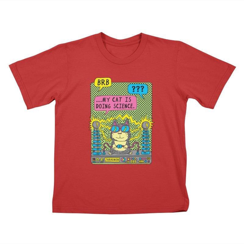Cat Science Kids T-Shirt by JARHUMOR
