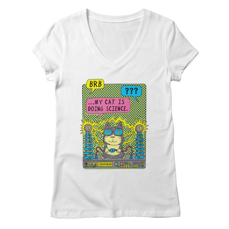 Cat Science Women's Regular V-Neck by JARHUMOR