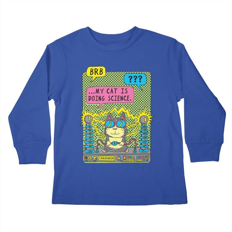 Cat Science Kids Longsleeve T-Shirt by JARHUMOR