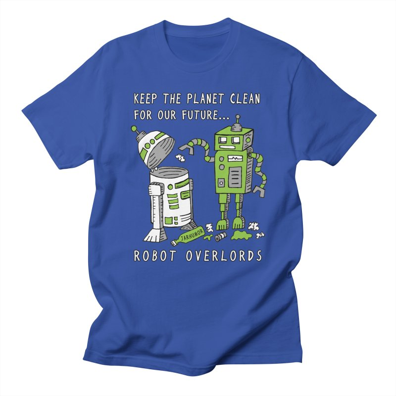 Robot Earth in Men's T-shirt Royal Blue by James A. Roberson (JARHUMOR)