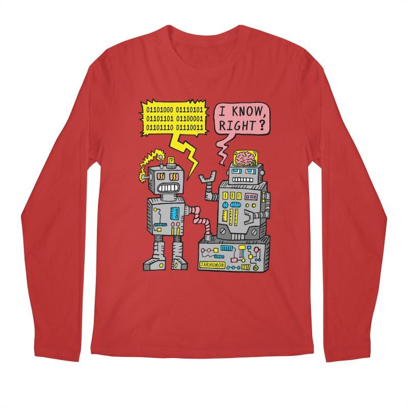 Robot Talk Men's Longsleeve T-Shirt by JARHUMOR