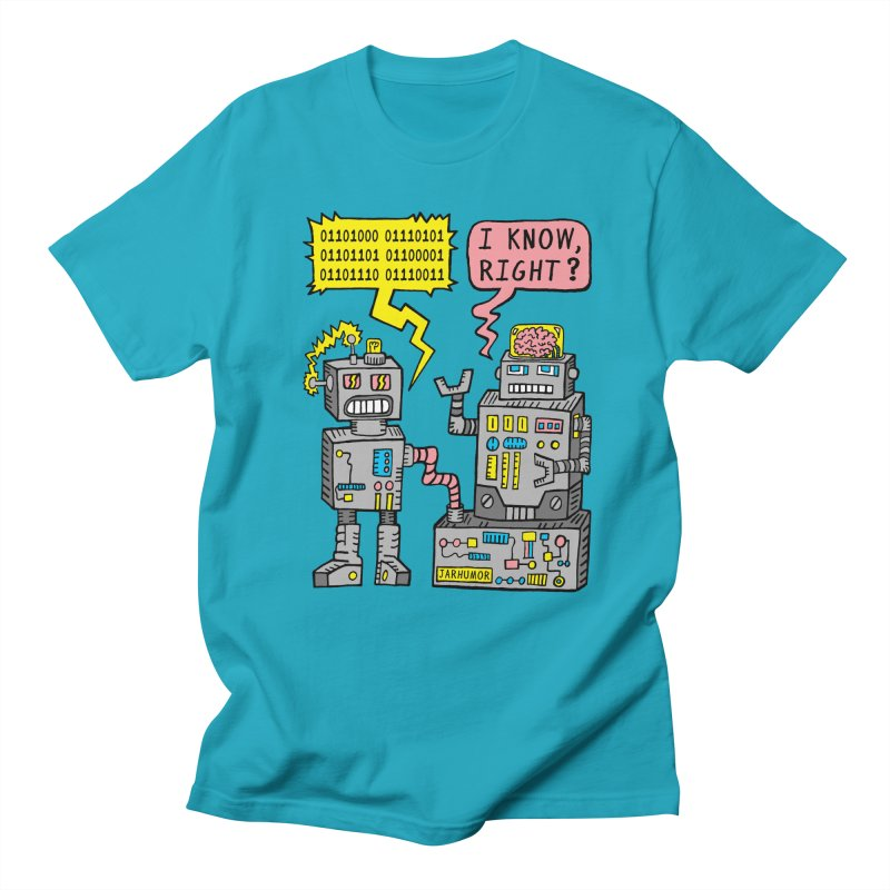 Robot Talk in Men's Regular T-Shirt Cyan by JARHUMOR