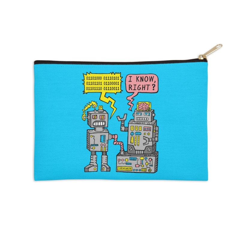 Robot Talk Accessories Zip Pouch by James A. Roberson (JARHUMOR)