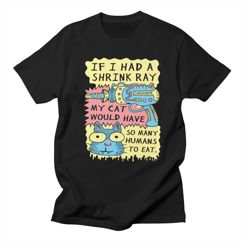 Shrink Ray Cat in Men's T-shirt Black by James A. Roberson (JARHUMOR)