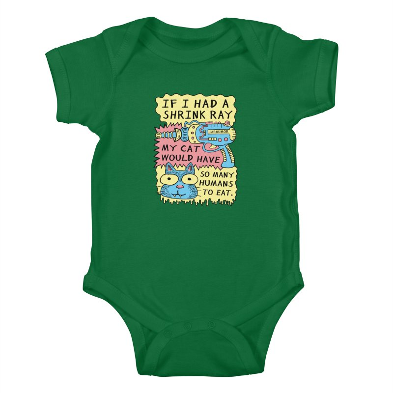 Shrink Ray Cat Kids Baby Bodysuit by JARHUMOR