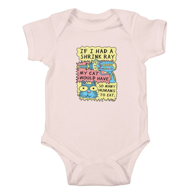 Shrink Ray Cat Kids Baby Bodysuit by James A. Roberson (JARHUMOR)