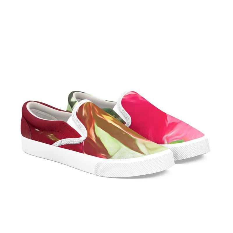 Pink Oleander Men's Slip-On Shoes by Jasmina Seidl's Artist Shop