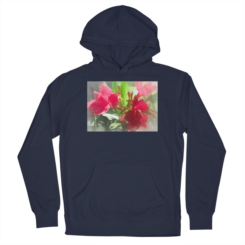 Pink Oleander Men's French Terry Pullover Hoody by Jasmina Seidl's Artist Shop