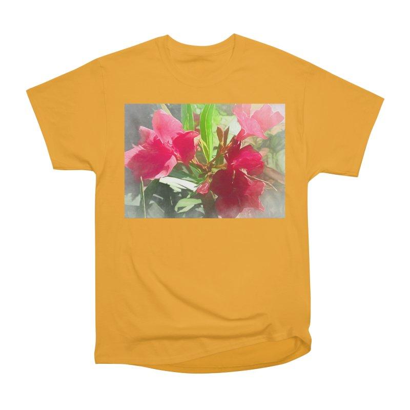 Pink Oleander Women's Heavyweight Unisex T-Shirt by Jasmina Seidl's Artist Shop