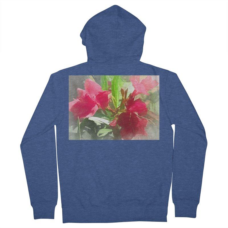 Pink Oleander Women's French Terry Zip-Up Hoody by Jasmina Seidl's Artist Shop
