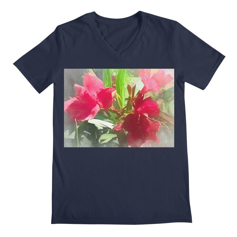 Pink Oleander Men's Regular V-Neck by Jasmina Seidl's Artist Shop