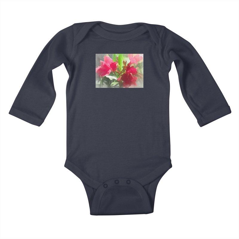 Pink Oleander Kids Baby Longsleeve Bodysuit by Jasmina Seidl's Artist Shop