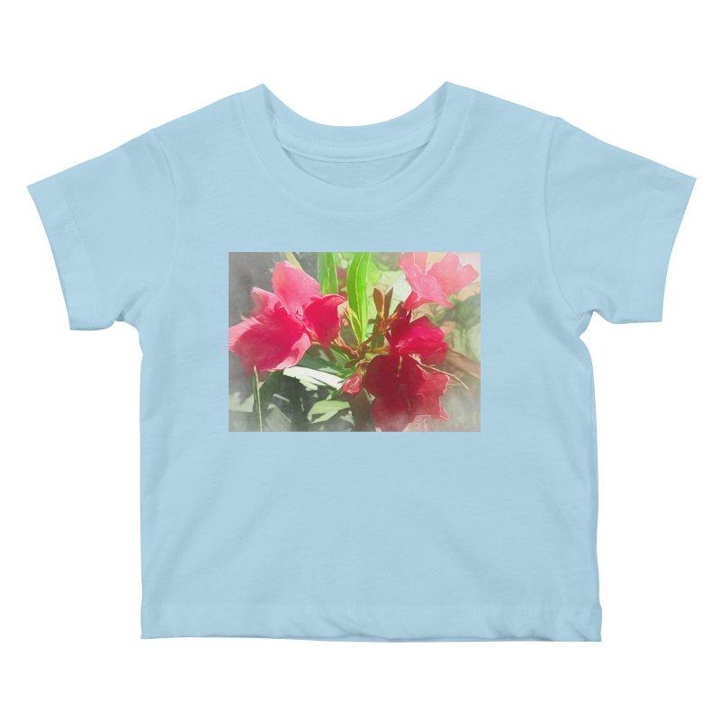 Pink Oleander Kids Baby T-Shirt by Jasmina Seidl's Artist Shop