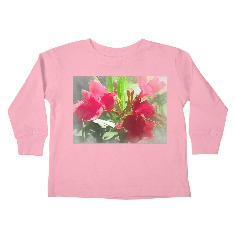 Pink Oleander Kids Toddler Longsleeve T-Shirt by Jasmina Seidl's Artist Shop