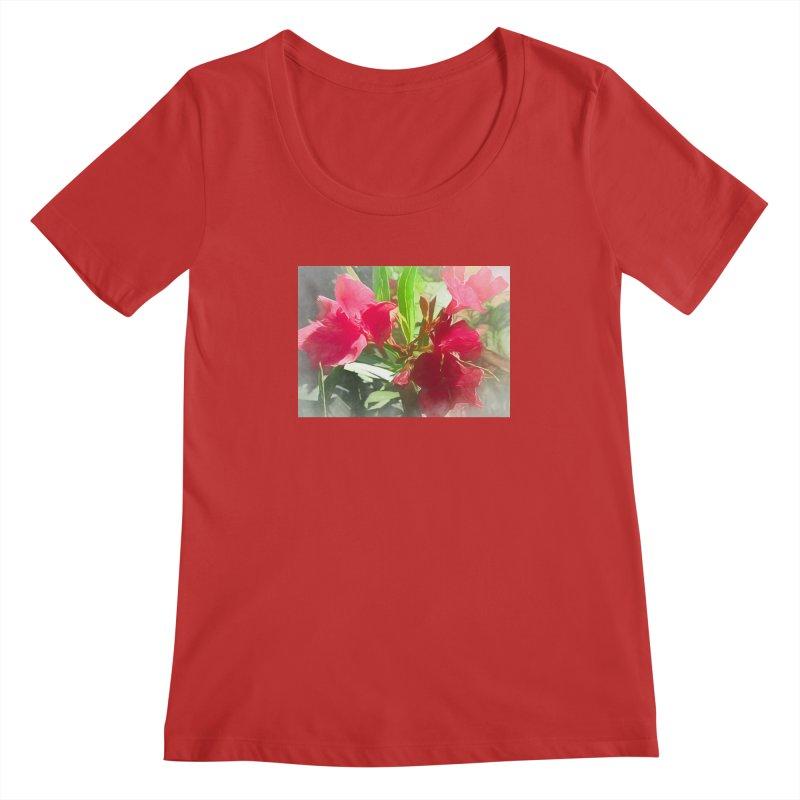 Pink Oleander Women's Regular Scoop Neck by Jasmina Seidl's Artist Shop