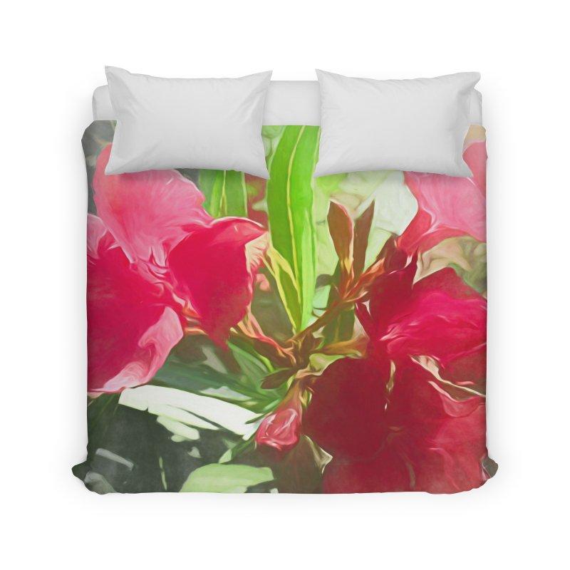 Pink Oleander Home Duvet by Jasmina Seidl's Artist Shop