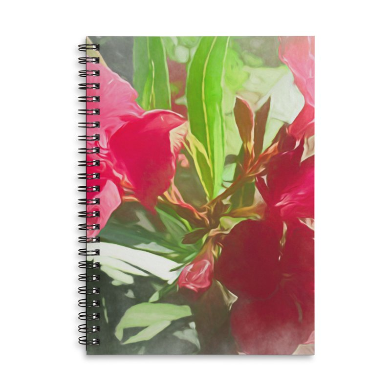 Pink Oleander Accessories Lined Spiral Notebook by Jasmina Seidl's Artist Shop