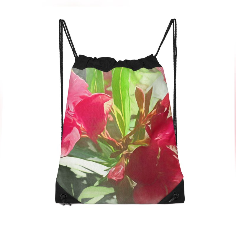 Pink Oleander Accessories Drawstring Bag Bag by Jasmina Seidl's Artist Shop