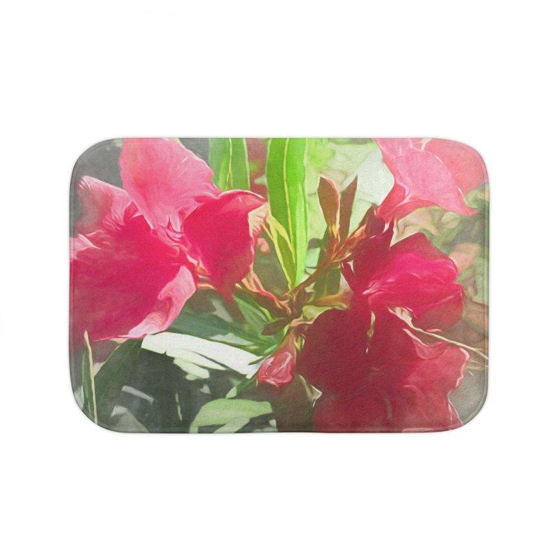 Pink Oleander Home Bath Mat by Jasmina Seidl's Artist Shop