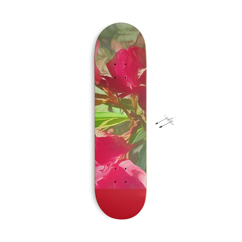 Pink Oleander Accessories With Hanging Hardware Skateboard by Jasmina Seidl's Artist Shop