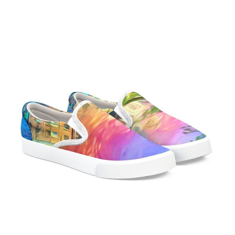 City of Rainbow Men's Slip-On Shoes by Jasmina Seidl's Artist Shop