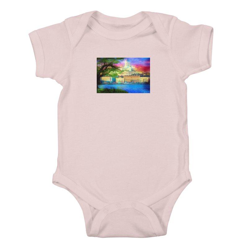 City of Rainbow Kids Baby Bodysuit by Jasmina Seidl's Artist Shop