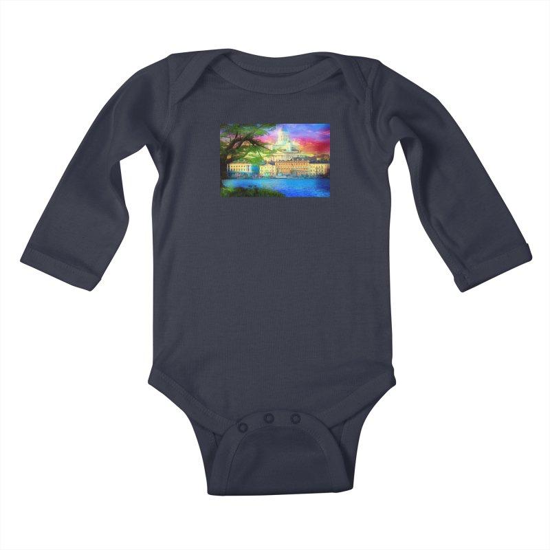 City of Rainbow Kids Baby Longsleeve Bodysuit by Jasmina Seidl's Artist Shop