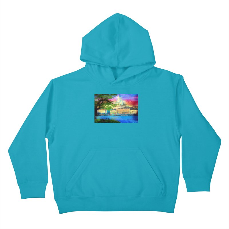 City of Rainbow Kids Pullover Hoody by Jasmina Seidl's Artist Shop