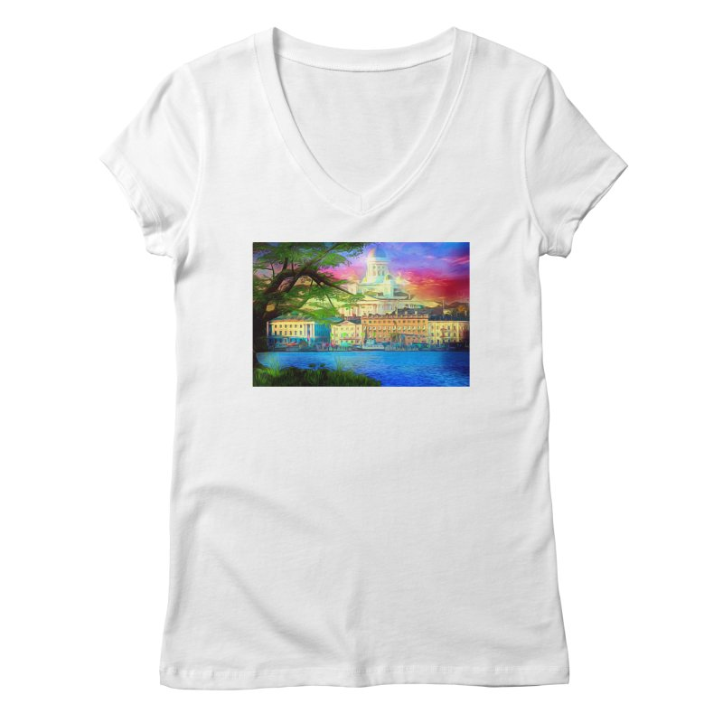 City of Rainbow Women's Regular V-Neck by Jasmina Seidl's Artist Shop