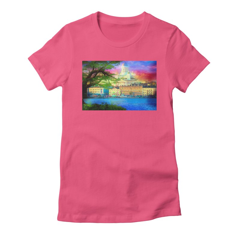 City of Rainbow Women's Fitted T-Shirt by Jasmina Seidl's Artist Shop