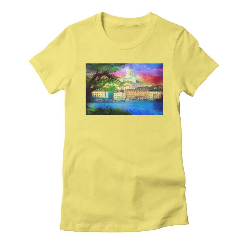 City of Rainbow Women's Fitted T-Shirt by Jasmina Seidl's Artist Shop