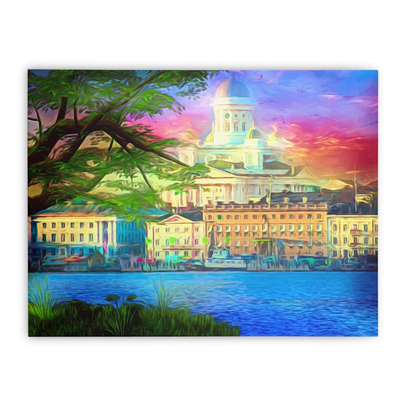 City of Rainbow Home Stretched Canvas by Jasmina Seidl's Artist Shop