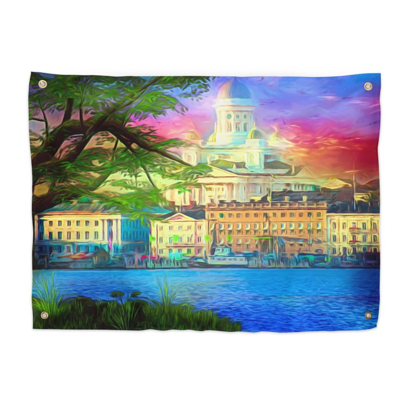City of Rainbow Home Tapestry by Jasmina Seidl's Artist Shop
