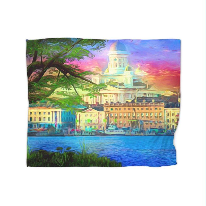 City of Rainbow Home Fleece Blanket Blanket by Jasmina Seidl's Artist Shop