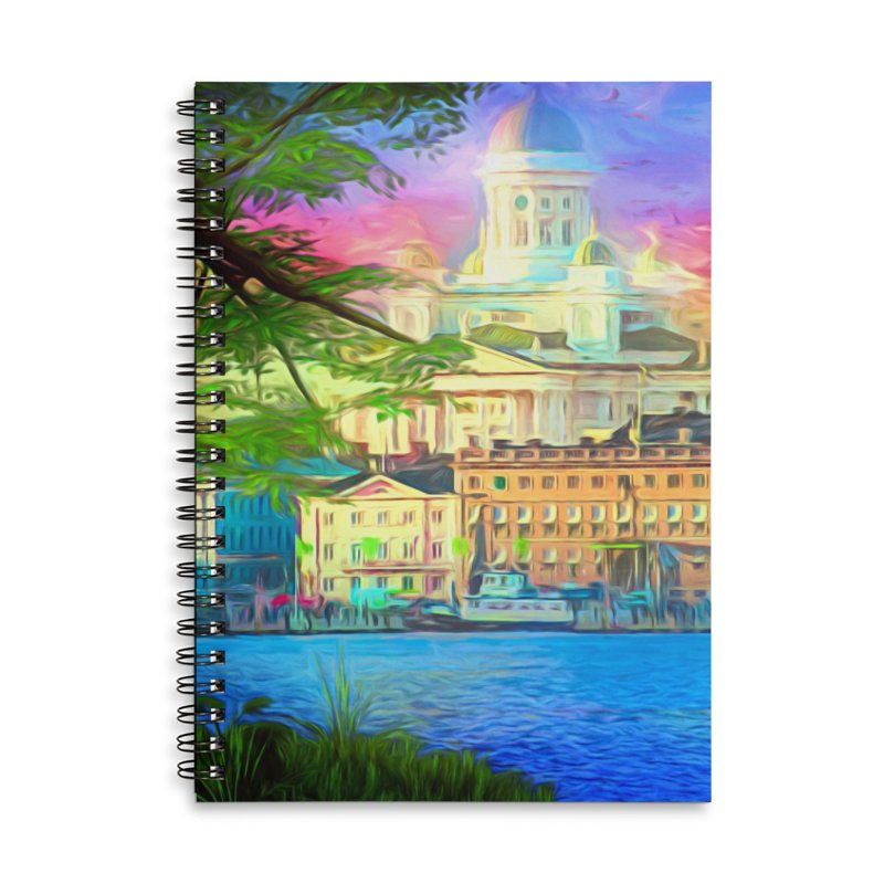 City of Rainbow Accessories Lined Spiral Notebook by Jasmina Seidl's Artist Shop