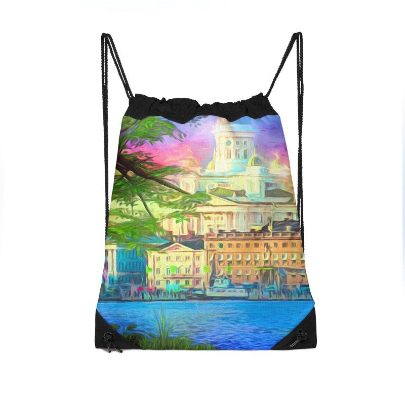 City of Rainbow Accessories Drawstring Bag Bag by Jasmina Seidl's Artist Shop
