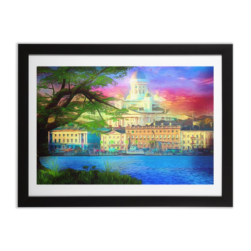 City of Rainbow Home Framed Fine Art Print by Jasmina Seidl's Artist Shop