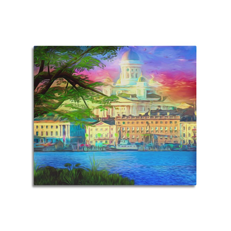 City of Rainbow Home Mounted Aluminum Print by Jasmina Seidl's Artist Shop