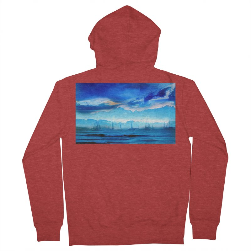 Blue Dreams Men's French Terry Zip-Up Hoody by Jasmina Seidl's Artist Shop