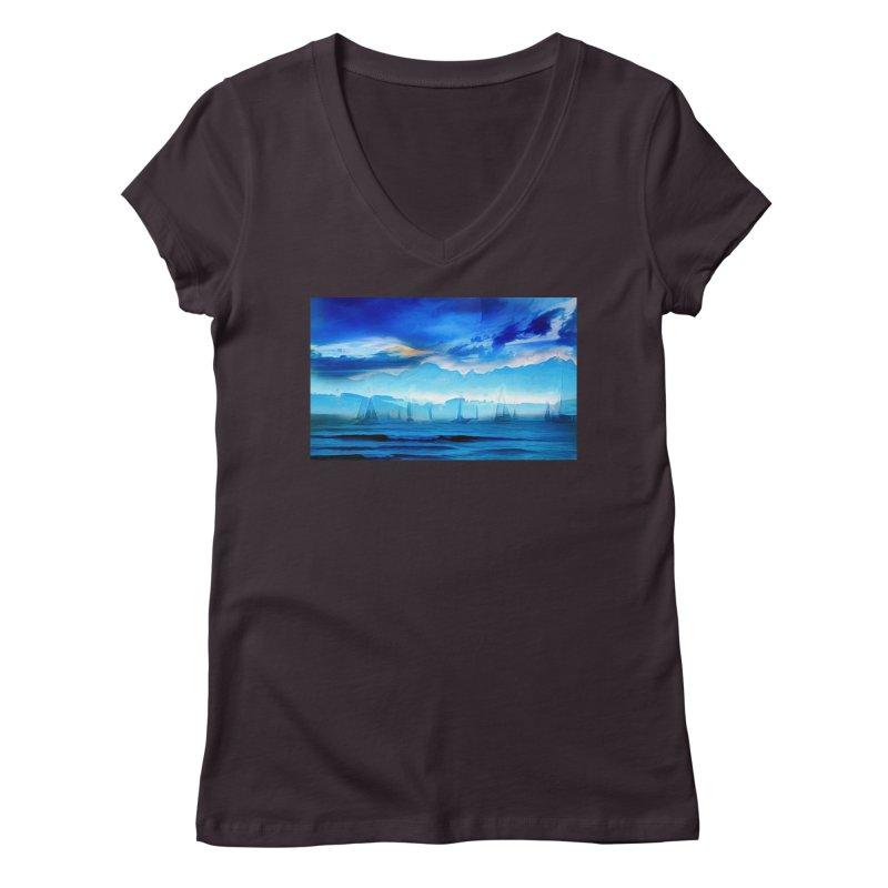 Blue Dreams Women's Regular V-Neck by Jasmina Seidl's Artist Shop