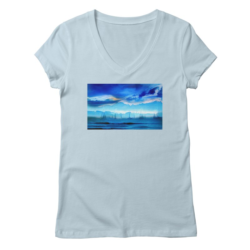 Blue Dreams Women's Regular V-Neck by Jasmina Seidl's Artist Shop