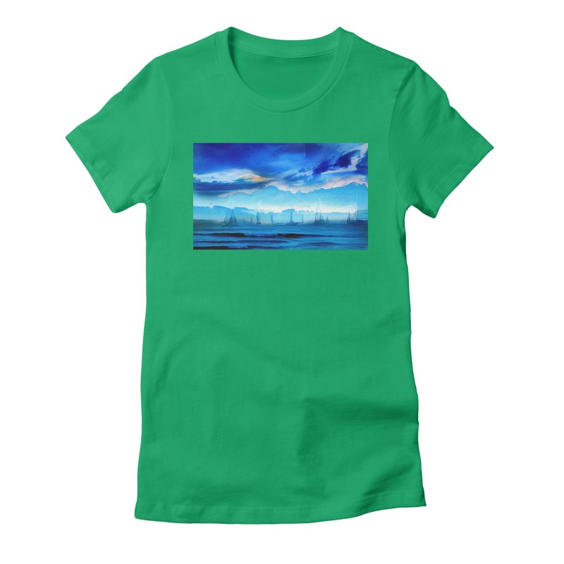 Blue Dreams Women's Fitted T-Shirt by Jasmina Seidl's Artist Shop