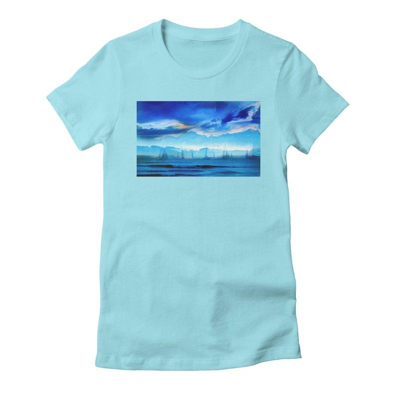 Blue Dreams Women's Fitted T-Shirt by Jasmina Seidl's Artist Shop
