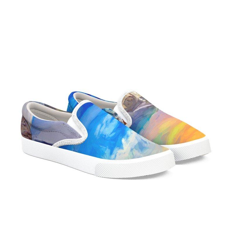 Santorini Dreamscape Men's Slip-On Shoes by Jasmina Seidl's Artist Shop