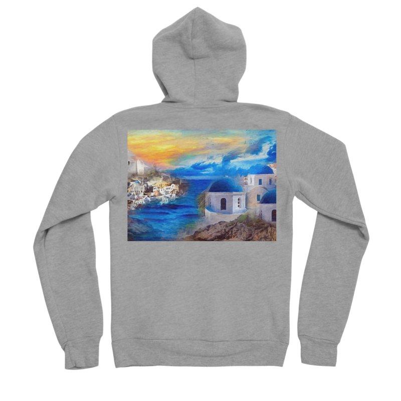 Santorini Dreamscape Men's Sponge Fleece Zip-Up Hoody by Jasmina Seidl's Artist Shop