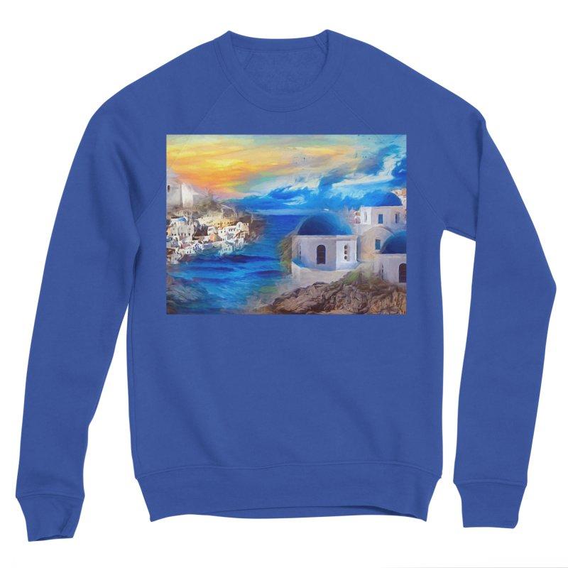 Santorini Dreamscape Women's Sponge Fleece Sweatshirt by Jasmina Seidl's Artist Shop