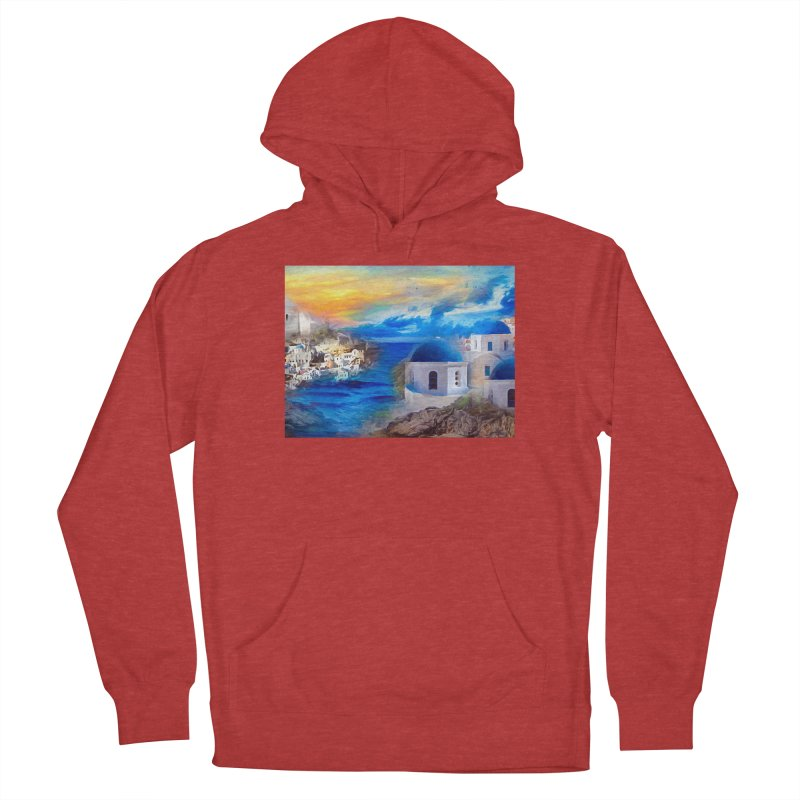 Santorini Dreamscape Men's French Terry Pullover Hoody by Jasmina Seidl's Artist Shop