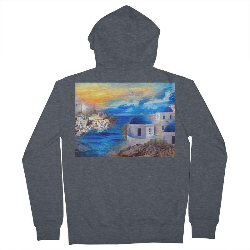 Santorini Dreamscape Men's French Terry Zip-Up Hoody by Jasmina Seidl's Artist Shop